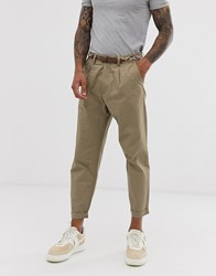 Pull And Bear Pullandbear Loose Chino Trousers In Tan With Belt