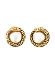 Chanel Vintage Snake Motif Clip On Earrings Metallic