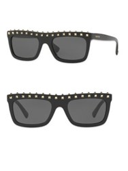 Valentino Soul Rockstud 51Mm Flat Top Rectangle Sunglasses Dark Havana Black