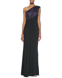 David Meister One Shoulder Beaded Angle Gown Women's