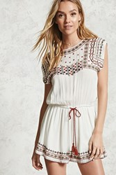 Forever 21 Contemporary Embroidered Romper Cream Red