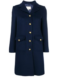 Gucci Single Breasted Coat Blue