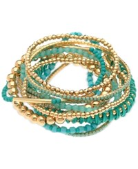 Guess Gold Tone 12 Pc. Set Blue Beaded And Cord Stretch Bracelets