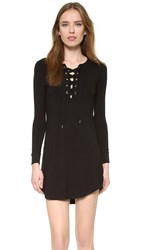 David Lerner Lace Up Long Sleeve Dress Classic Black