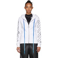 Off White Abstract Arrows Zip Hoodie