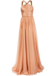 Maria Lucia Hohan Halterneck Gown Yellow And Orange
