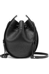 The Row Textured Leather Shoulder Bag Black