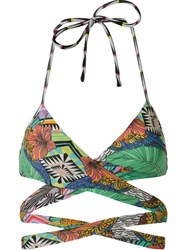 Blue Man Print Mix Strappy Bikini Top