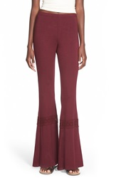 Hip Crochet Detail Knit Flare Pants Juniors Burgundy