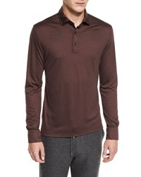 Ermenegildo Zegna High Performance Wool Long Sleeve Polo Shirt Crimson