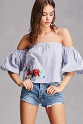 Forever 21 Embroidered Puff Sleeve Top White Blue