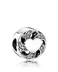Pandora Design Charm Sterling Silver And Cubic Zirconia Ribbon Heart Moments Collection