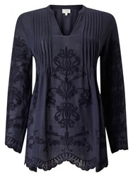 East Embroidered Pintuck Top Sapphire