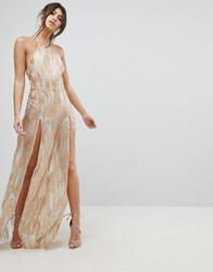 Naanaa Sequin Maxi Dress With Double Thigh Split Gold