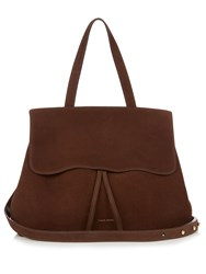 Mansur Gavriel Brown Lined Lady Top Handle Suede Bag Dark Brown