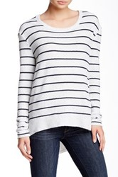 Sweet Romeo Striped Thermal Pullover Gray