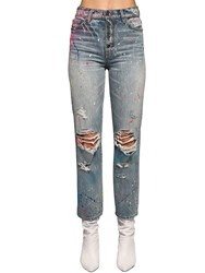 Amiri Splatter Paint Destroyed Cotton Jeans Denim Multi