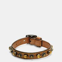 Coach Medium Leather Oval Crystal Bracelet Black Brown