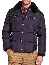 Dsquared Fur Trim Quilted Puffer Jacket Navy Blue