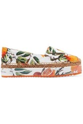 Dolce And Gabbana Floral Print Jacquard Espadrilles Multicolor