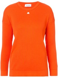 Courreges Rib Knit Top Yellow And Orange