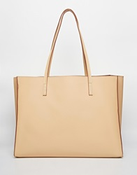 Asos Structured Shopper Bag With Removable Clutch Bag Nude