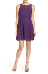 Bb Dakota Women's 'Renley' Lace Fit And Flare Dress Purple Haze