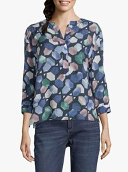 Betty And Co. Graphic Print Blouse Light Blue