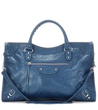 Balenciaga Classic City Leather Tote Blue