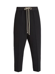 Rick Owens Dropped Crotch Cropped Poplin Trousers Black