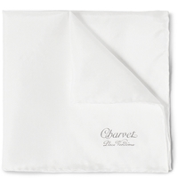 Charvet Silk Pocket Square White