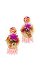 Mercedes Salazar Rosita Mora Clip On Earrings Gold Pink Multi