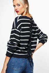 Boohoo Nautical Stripe Jumper With Lace Up Back Navy
