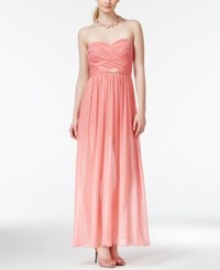 Teeze Me Juniors' Ruched Chiffon Sweetheart Gown