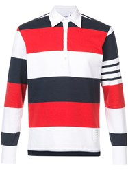 Thom Browne Ls Polo In Rugby Stripe W Engineered 4 Bar Cotton