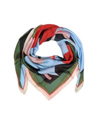 Emilio Pucci Multicolor Floral Print Silk Shawl Red