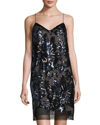 Maia Floral Sequin Shift Dress Blue Metallic