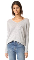 Wildfox Couture Xo Embroidery Cashmere Sweater Heather Grey
