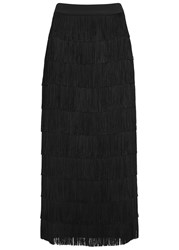 Stella Mccartney Black Fringed Silk Maxi Skirt