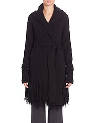 Agnona. Wool And Cashmere Fringed Sweater Coat Black