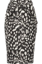 Max Mara Leopard Print Cotton Poplin Skirt Charcoal