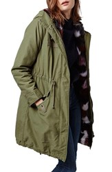 Women's Topshop Patchwork Faux Fur Lined Parka