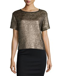 Lafayette 148 New York Whitney Short Sleeve Metallic Blouse Gold