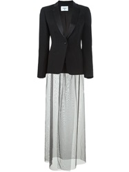 Dondup Long Chiffon Layer Blazer Black