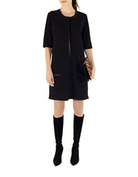 Shirtdress Kassidy Faux Leather Trimmed Shift Dress Black