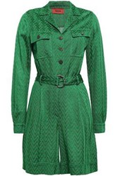 Missoni Woman Belted Crochet Knit Playsuit Green