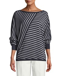Lafayette 148 New York Matte Crepe Directional Striped Sweater Ink Cloud