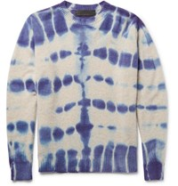 The Elder Statesman Tie Dyed Cashmere Sweater Indigo