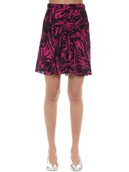 N 21 Animalier Printed Crepe Mini Skirt Fuchsia