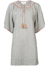 The Great Striped Embroidered Smock Dress White